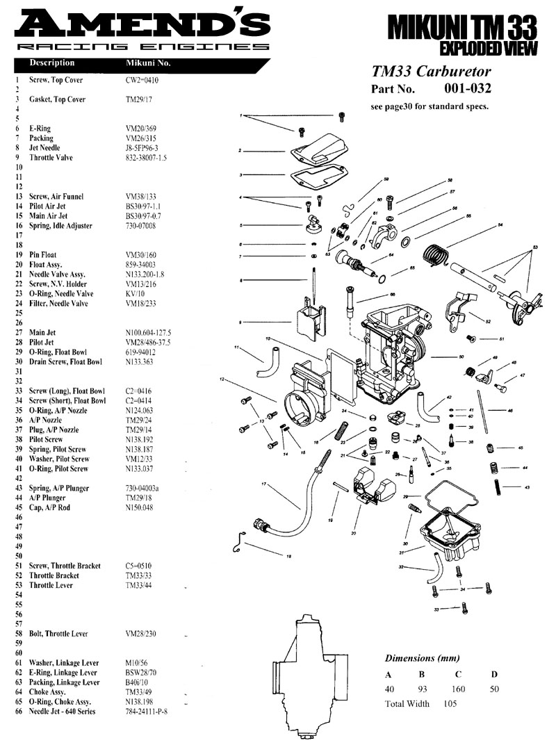 Mikuni Carb Parts Breakdown : Amends racing engines junior dragster carburetors mikuni